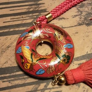 Vtg cloisonne butterfly pendant with tassel